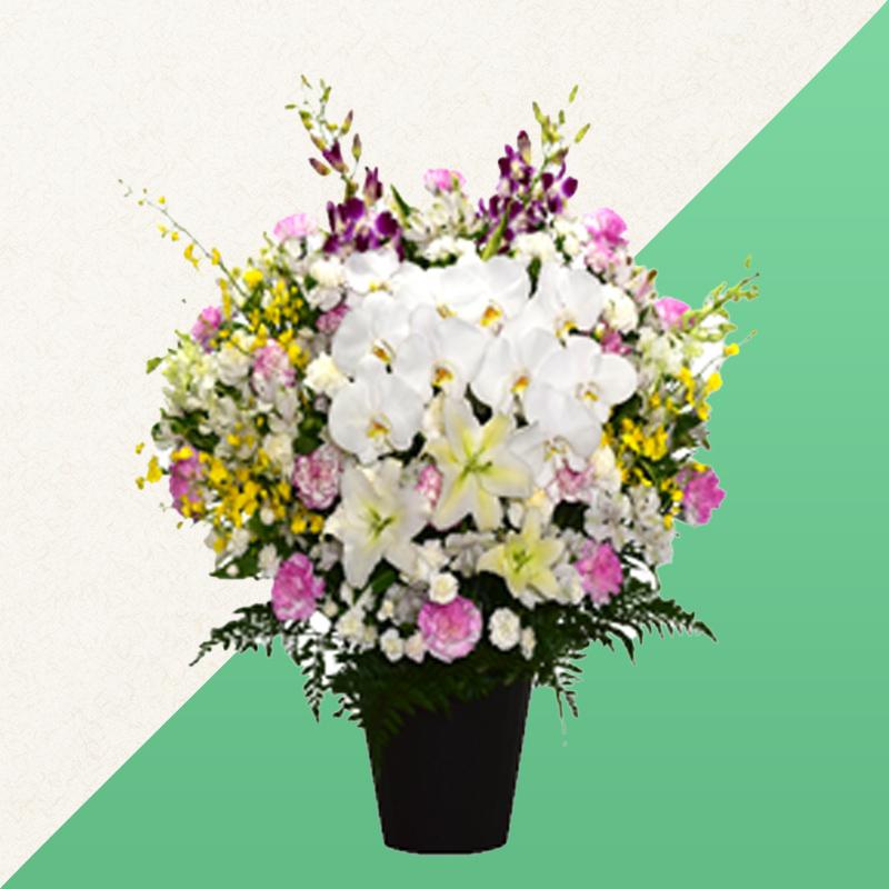 ファミリーホール高津の供花、洋花 【胡蝶蘭・百合入】 27,500円